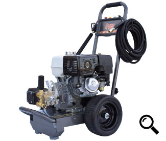 Front Right View of the 390cc Cold Water Pressure Washer in Use