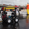 Right View of the 390cc Hot Water Pressure Washer in Use